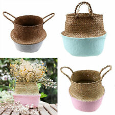 Foldable Seagrass Woven Belly Basket Plant Flower Pot Lanudry Storage Holder HOT