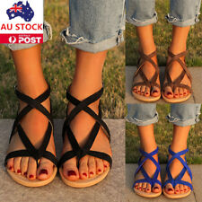 Women Roman Gladiator Sandals Summer Beach Ankle Strap Sandals Flat Buckle Shoes