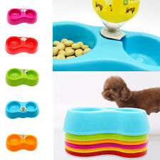 Pet Dog Cat Plastic Food Water Dish Feeder Automatic Water Dispenser Double Bowl