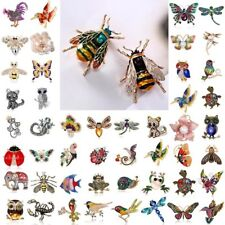 Lots Of Charm Crystal Pearl Animal Cat Dragonfly Butterfly Bird Brooch Pin Women