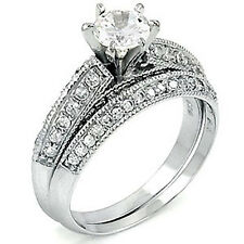 Sterling Silver .925 CZ Vintage Style Engagement Wedding Ring Band Set Size 5-9