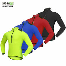 Breathable Half Zipper Long Sleeve Cycling Jersey Bike Riding Shirt Mens Soft
