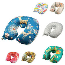 Inflatable Portable Travel Neck Pillow with Soft Velvet Neck Head Support