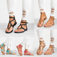 Gladiator Women Ankle Strap Flat Sandals Summer Beach Peep Toe Buckle Shoes Size