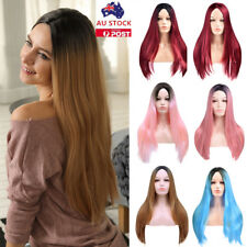 28' Women Wine Red Long Straight Full Wig Hair Cosplay Party Anime Wig+Wig Cap