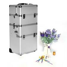 3-in-1 Aluminum Rolling Makeup Cosmetic Train Case Wheeled Box Silver