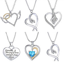 Fashion Heart Charm Silver Crystal Chain Pendant Necklace Women Men Jewelry Gift