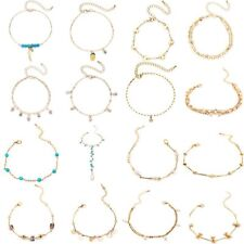Charm Boho Women Feather Turquoise Crystal Chain Anklet Cuff Bracelet Jewelry
