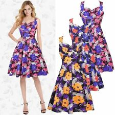 Women's 1950s 60s Vintage Floral Style Rockabilly Cocktail Party Swing Sun Dress