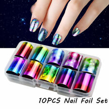 10×Holographic Nail Foil Set Transparent Starry Sky Nail Art Transfer Sticker