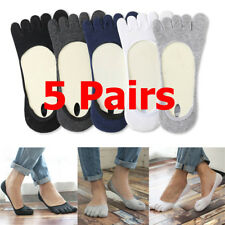 5 Pairs Men Invisible Toe Socks No Show Non Slip Low Cut Five Fingers Socks