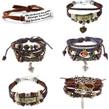 Women Men Leather Music Note Letters Bracelet Feather LOVE Bangle Jewelry Gift