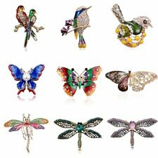 Fashion Crystal Animal Butterfly Dragonfly Bird Brooch Pin Women Costume Jewelry