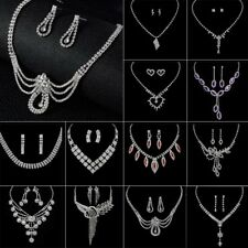 Fashion Engagement Wedding Bridal Party Crystal Necklace Earrings Set Jewelry