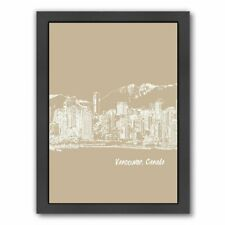 East Urban Home Skyline Vancouver 7 Framed Graphic Art in Tan