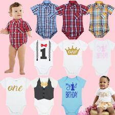 Baby My 1st First Birthday Romper Toddler Boys Cake Smash Bodysuit Party Outfits