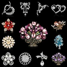 Fashion Rhinestone Crystal Flower Brooch Pin Women Wedding Bride Bouquet Jewelry
