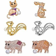 Lovely Rhinestone Rabbit Pig Animal Brooch Pin Corsage Women Jewelry Party Gift