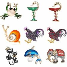 Fashion Crystal Rhinestone Snail Frog Cock Animal Brooch Pin Women Jewelry Gift