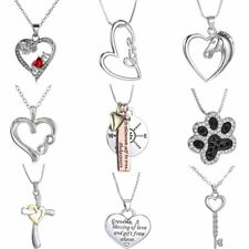 Stainless Steel Crystal Friendship Heart Key Set Silver Pendant Couple Necklace