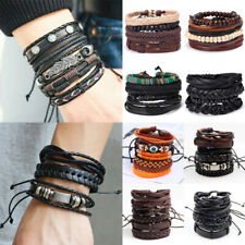 Fashion Women Men Leather Braid Tribal Wrap Bracelet Punk Cuff Wristband Bangle
