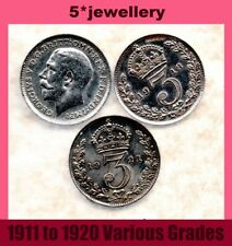 real silver 3d Three Pence coins George 5th threepence 1911- 1920 Grade G to UNC
