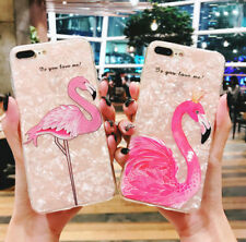 Glitter Flamingo Bright Shell Soft TPU Phone Case Cover for iphone 6 7 8 plus X