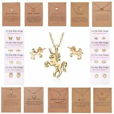 Gold Simple Bar Dragonfly Butterfly Pendant Necklace Earrings Women Jewelry Sets