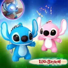 Lilo And Stitch Toys Cartoon LED Stitch Keychain Light Up Sound Pendant For Kid