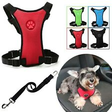 Adjustable Dog Harness Puppy Pet Collar & Car Safety Seat Belt Restraint Comfy