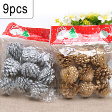 9PCS Christmas Silver/Gold Pine Cones Bauble DIY Xmas Tree Home Party Gift Decor