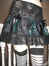NEW Goth Black,Jade Spiders Couture Silk Lace Skirt