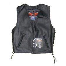 NEW CHILDS BIKER GENIUNE LEATHER MOTORYCLE VEST XLARGE
