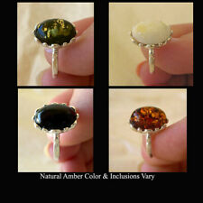BALTIC CHERRY, GREEN, WHITE or HONEY AMBER & STERLING SILVER RING VARIOUS SIZES