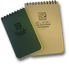 """""""RITE IN THE RAIN"""" ALL WEATHER NOTEBOOK / WRITING PAD, GREEN OR SAND, 2 SIZES"""