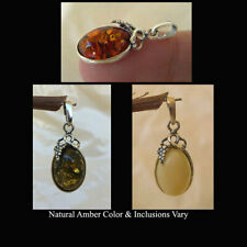 BALTIC HONEY, GREEN or WHITE AMBER & STERLING SILVER GRAPE PENDANT CHARM