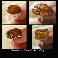 BALTIC HONEY AMBER & STERLING SILVER MODERN HANDMADE RING