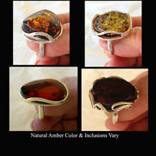 BALTIC HONEY or MULTICOLOR AMBER & STERLING SILVER MODERN HANDMADE RING
