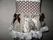 Girls Retro,Hippy,Boho Brown,white,cream spots,satin,lace Frilly  Party, Skirt*