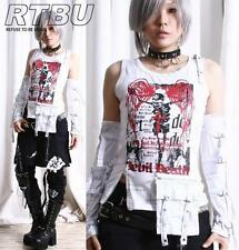 Gothic Punk Skeleton Death Graphic Tank Top+Utility Pocket+Strapy Arm Warmers