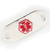 Medical Alert Stainless ID TAG for Bracelet  - Diabetes- Type 1 and Type 2