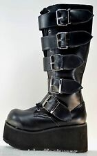 "TRASHVILLE 3"" PLATFORM MULTI BUCKLE LACE UP SIDE ZIP MID CALF BOOT GOTHIC PUNK"
