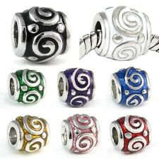 Spiral Symbol Silver European Spacer Charm Bead For Bracelet Necklace