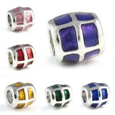 Silver European Bracelet Spacer Charm Bead - Purple Blue Yellow Green Red Pink