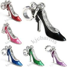 Stiletto High Heel Shoe Silver Dangle European Charm Bead For Bracelet Necklace