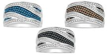Mother Day Silver Blue Or Black Or Brown  Fashion Diamond Ring Band 1/3 Ct