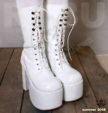 """Gothic Punk Lolita Cosplay Faux Leather 6"""" Chunky Heel Platform Calf Laceup Boot"""