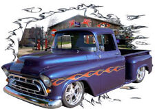 1957 Blue Flames Chevy Pickup Truck Hot Rod Garage T-Shirt 57, Muscle Car Tee's