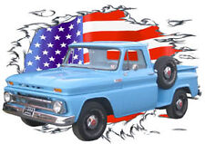 1965 Blue Chevy Pickup Truck Custom Hot Rod USAT T-Shirt 64,65,66 Muscle Car T