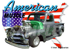 1955 Black Chevy Blown Pickup Truck Custom Hot Rod USA T-Shirt 55, Muscle Car T
